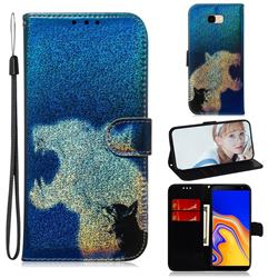 Cat and Leopard Laser Shining Leather Wallet Phone Case for Samsung Galaxy J4 Plus(6.0 inch)