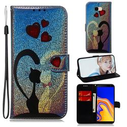 Love Cat Laser Shining Leather Wallet Phone Case for Samsung Galaxy J4 Plus(6.0 inch)