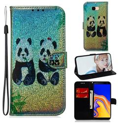 Two Pandas Laser Shining Leather Wallet Phone Case for Samsung Galaxy J4 Plus(6.0 inch)