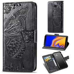 Embossing Mandala Flower Butterfly Leather Wallet Case for Samsung Galaxy J4 Plus(6.0 inch) - Black
