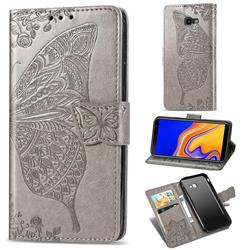 Embossing Mandala Flower Butterfly Leather Wallet Case for Samsung Galaxy J4 Plus(6.0 inch) - Gray
