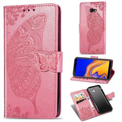 Embossing Mandala Flower Butterfly Leather Wallet Case for Samsung Galaxy J4 Plus(6.0 inch) - Pink
