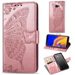 Embossing Mandala Flower Butterfly Leather Wallet Case for Samsung Galaxy J4 Plus(6.0 inch) - Rose Gold