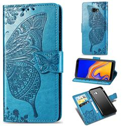 Embossing Mandala Flower Butterfly Leather Wallet Case for Samsung Galaxy J4 Plus(6.0 inch) - Blue
