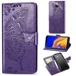 Embossing Mandala Flower Butterfly Leather Wallet Case for Samsung Galaxy J4 Plus(6.0 inch) - Dark Purple
