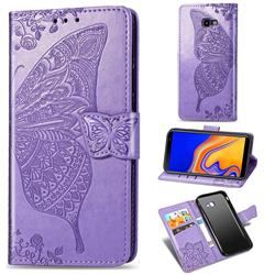 Embossing Mandala Flower Butterfly Leather Wallet Case for Samsung Galaxy J4 Plus(6.0 inch) - Light Purple