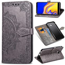 Embossing Imprint Mandala Flower Leather Wallet Case for Samsung Galaxy J4 Plus(6.0 inch) - Gray