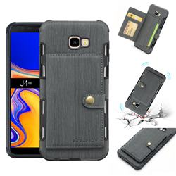 Brush Multi-function Leather Phone Case for Samsung Galaxy J4 Plus(6.0 inch) - Gray