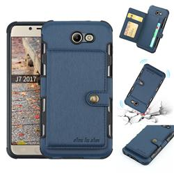 Brush Multi-function Leather Phone Case for Samsung Galaxy J4 Plus(6.0 inch) - Blue
