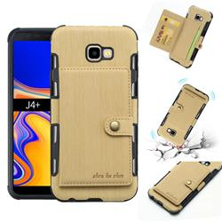 Brush Multi-function Leather Phone Case for Samsung Galaxy J4 Plus(6.0 inch) - Golden
