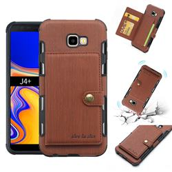 Brush Multi-function Leather Phone Case for Samsung Galaxy J4 Plus(6.0 inch) - Brown