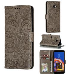 Intricate Embossing Lace Jasmine Flower Leather Wallet Case for Samsung Galaxy J4 Plus(6.0 inch) - Gray