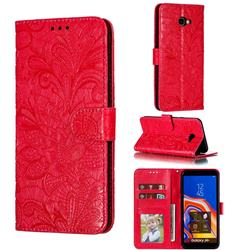 Intricate Embossing Lace Jasmine Flower Leather Wallet Case for Samsung Galaxy J4 Plus(6.0 inch) - Red