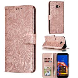 Intricate Embossing Lace Jasmine Flower Leather Wallet Case for Samsung Galaxy J4 Plus(6.0 inch) - Rose Gold