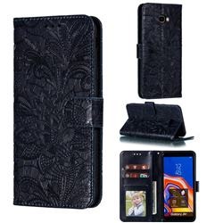 Intricate Embossing Lace Jasmine Flower Leather Wallet Case for Samsung Galaxy J4 Plus(6.0 inch) - Dark Blue