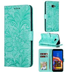 Intricate Embossing Lace Jasmine Flower Leather Wallet Case for Samsung Galaxy J4 Plus(6.0 inch) - Green