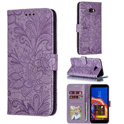 Intricate Embossing Lace Jasmine Flower Leather Wallet Case for Samsung Galaxy J4 Plus(6.0 inch) - Purple