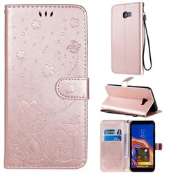 Embossing Bee and Cat Leather Wallet Case for Samsung Galaxy J4 Plus(6.0 inch) - Rose Gold