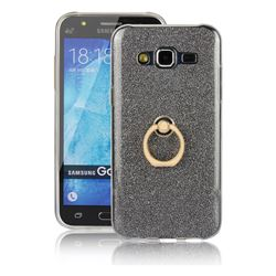 Luxury Soft TPU Glitter Back Ring Cover with 360 Rotate Finger Holder Buckle for Samsung Galaxy J5 2015 J500 - Black