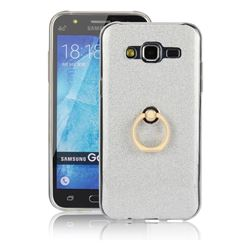 Luxury Soft TPU Glitter Back Ring Cover with 360 Rotate Finger Holder Buckle for Samsung Galaxy J5 2015 J500 - White