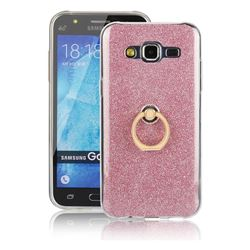 Luxury Soft TPU Glitter Back Ring Cover with 360 Rotate Finger Holder Buckle for Samsung Galaxy J5 2015 J500 - Pink