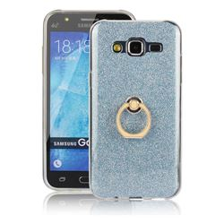 Luxury Soft TPU Glitter Back Ring Cover with 360 Rotate Finger Holder Buckle for Samsung Galaxy J5 2015 J500 - Blue