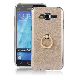 Luxury Soft TPU Glitter Back Ring Cover with 360 Rotate Finger Holder Buckle for Samsung Galaxy J5 2015 J500 - Golden