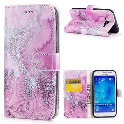 Pink Seawater PU Leather Wallet Case for Samsung Galaxy J5 2015 J500