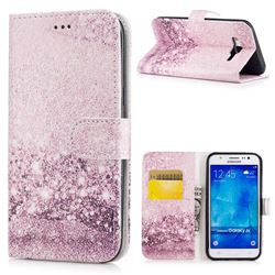 Glittering Rose Gold PU Leather Wallet Case for Samsung Galaxy J5 2015 J500