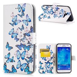Blue Vivid Butterflies PU Leather Wallet Case for Samsung Galaxy J5 2015 J500