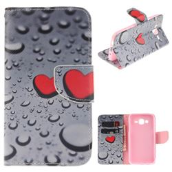 Heart Raindrop PU Leather Wallet Case for Samsung Galaxy J5 2015 J500