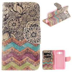 Wave Flower PU Leather Wallet Case for Samsung Galaxy J5 2015 J500