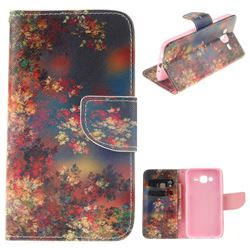 Colored Flowers PU Leather Wallet Case for Samsung Galaxy J5 2015 J500