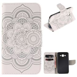 White Flowers PU Leather Wallet Case for Samsung Galaxy J5 2015 J500