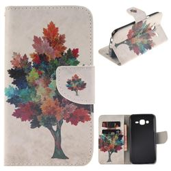 Colored Tree PU Leather Wallet Case for Samsung Galaxy J5 2015 J500