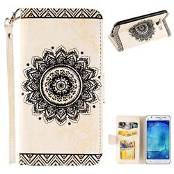 Embossed Datura Flower PU Leather Wallet Case for Samsung Galaxy J5 2015 J500 - White