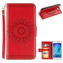Embossed Datura Flower PU Leather Wallet Case for Samsung Galaxy J5 2015 J500 - Red