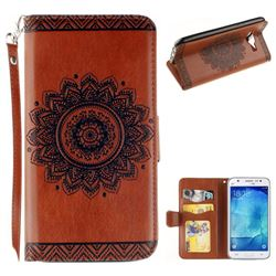 Embossed Datura Flower PU Leather Wallet Case for Samsung Galaxy J5 2015 J500 - Brown