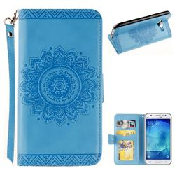 Embossed Datura Flower PU Leather Wallet Case for Samsung Galaxy J5 2015 J500 - Blue