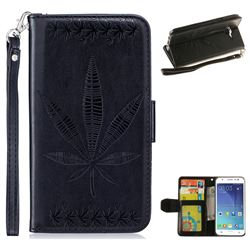 Intricate Embossing Maple Leather Wallet Case for Samsung Galaxy J5 2015 J500 - Black