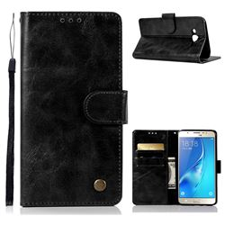 Luxury Retro Leather Wallet Case for Samsung Galaxy J5 2015 J500 - Black