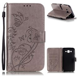 Embossing Butterfly Flower Leather Wallet Case for Samsung Galaxy J5 2015 J500 - Grey