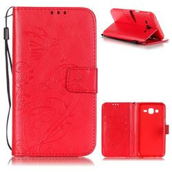 Embossing Butterfly Flower Leather Wallet Case for Samsung Galaxy J5 2015 J500 - Red
