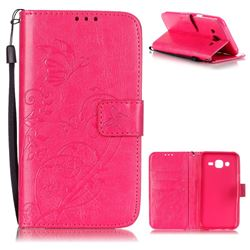Embossing Butterfly Flower Leather Wallet Case for Samsung Galaxy J5 2015 J500 - Rose