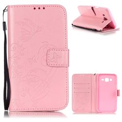 Embossing Butterfly Flower Leather Wallet Case for Samsung Galaxy J5 2015 J500 - Pink