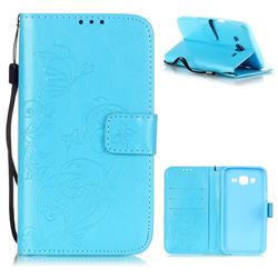 Embossing Butterfly Flower Leather Wallet Case for Samsung Galaxy J5 2015 J500 - Blue