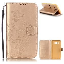 Embossing Butterfly Flower Leather Wallet Case for Samsung Galaxy J5 2015 J500 - Champagne