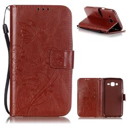 Embossing Butterfly Flower Leather Wallet Case for Samsung Galaxy J5 2015 J500 - Brown