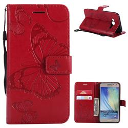 Embossing 3D Butterfly Leather Wallet Case for Samsung Galaxy J5 2015 J500 - Red