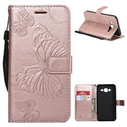 Embossing 3D Butterfly Leather Wallet Case for Samsung Galaxy J5 2015 J500 - Rose Gold